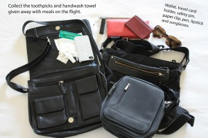 My three favourite travelling handbags. The lightest is the Agnes b, virtually indestructible with three zip sections.